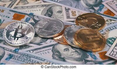 lent, rotate., dollars, pièces, crypto, nous, mouvement, divers, automne, table, factures