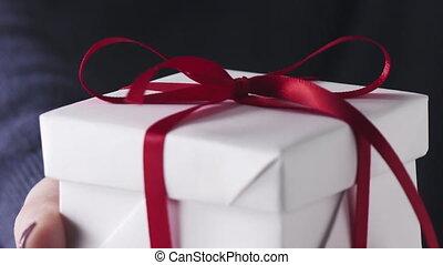 lent, ruban, girl, exposition, jeune, cadeau, blanc, ...