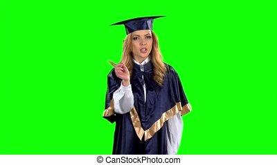 lent, screen., mouvement, graduate., vert, student.