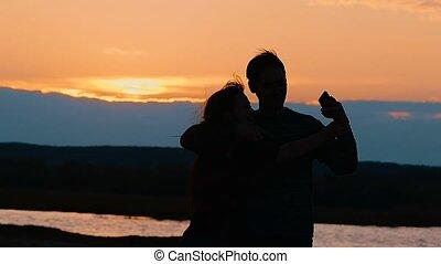 lent, selfie, mouvement, silhouettes, femme, vidéo, photographié, homme