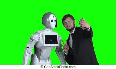 lent, selfie, robot, screen., mouvement, vert, prendre, type, photographié