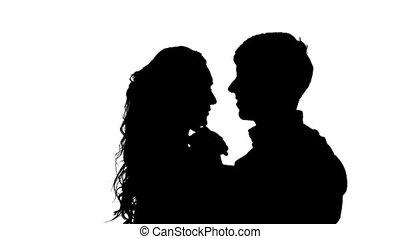 lent, silhouette, danse, couple, isolé, une, mouvement, fond, femme, studio, rocher, blanc, homme