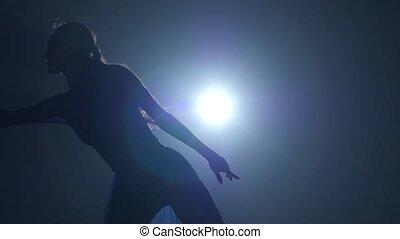 lent, silhouette, danse, mouvement, close-up., ballerina.