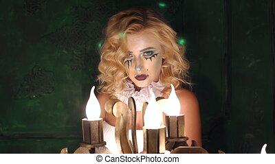 lent, studios., horreur, halloween, acteurs, maquillage, film, girl, mo