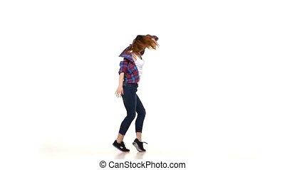 lent, style, chemise plaid, danse, virages, mouvement, fond, séduisant, girl, dame, blanc
