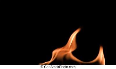 lent, super, flammes, mouvement