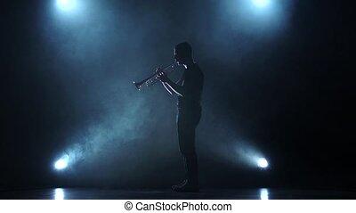 lent, trumpeter, enfumé, jouer, mouvement, studio, projecteur, melody.