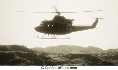 lent, uni, mouvement, etats, vietnam, hélicoptère, militaire