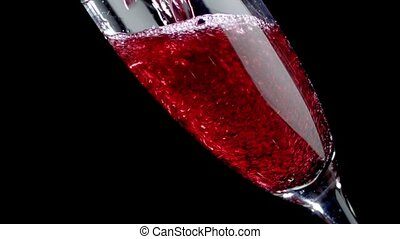 lent, verre, être, mouvement, arrière-plan., versé, rouge noir, vin