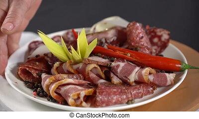lent, viande, mouvement, plat, mettre, fumé, table.