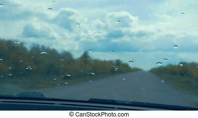 lent, voiture, mouvement, verre, vidéo, route, vue