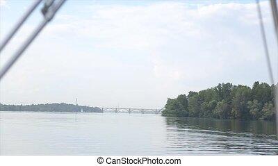 lent, vues, mouvement, river., bateau rivière