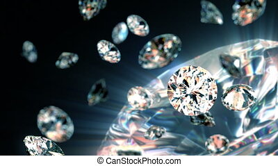lentamente, cadere, diamanti