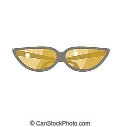 lente, óculos de sol, amarela