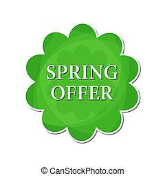 lente, aanbod, in, groene, bloem, etiket