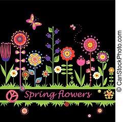 lente, abstract, bloemen, grens