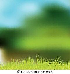 lente, abstract, groene achtergrond