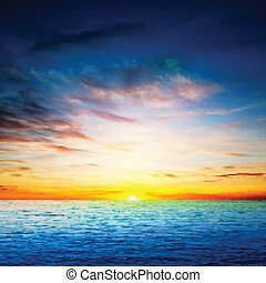lente, abstract, zee, achtergrond, zonopkomst
