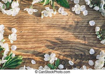 lente, achtergrond., bloemen, kers, op, wooden., frame