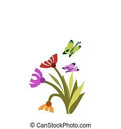lente, bloem, bloem, en, vlinder, -1
