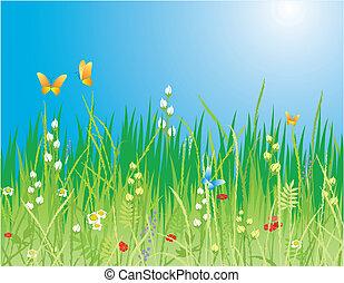 &, lente, -, bloemen, achtergrond., vlinder, vector, gras