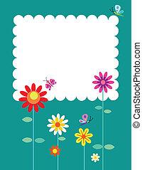 lente, bloemen, en, vlinder