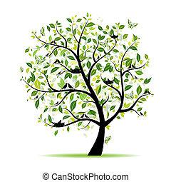 lente, boompje, groene, met, vogels, voor, jouw, ontwerp