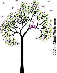lente, boompje, met, liefdevogels, vector
