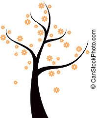 lente, boompje, vrijstaand, sinaasappel, witte bloemen