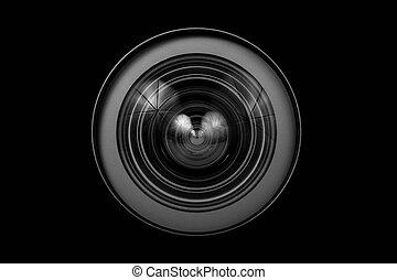 lente cámara, cicatrizarse, vidrio, aislado
