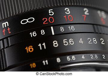 lente cámara, primer plano