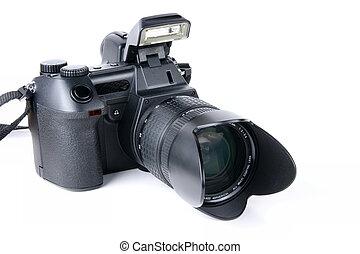 lente, cámara, zumbido, digital