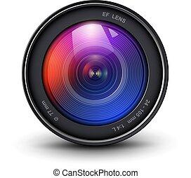 lente, câmera, 3d, ícone