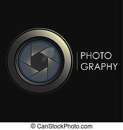 lente, câmera, conceito, fotógrafo