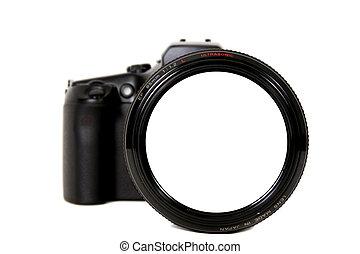 lente, câmera, em branco