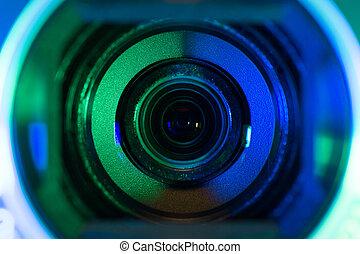 lente, câmera, vídeo
