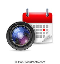 lente, calendário, câmera