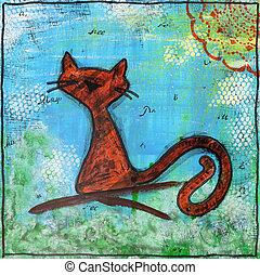 lente, cat., schilderij, in, de, stijl, van, gemengde media