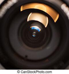 lente, chiudere, macchina fotografica, su