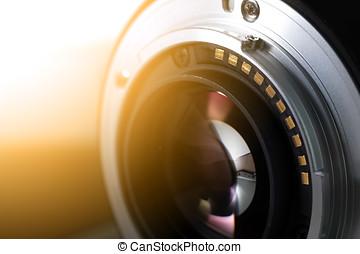 lente, chiudere, macchina fotografica, su, digitale