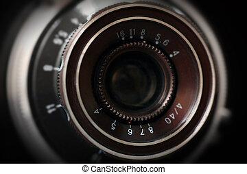 lente, chiudere, macchina fotografica, vecchio, su