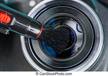 lente, clears, macchina fotografica, spazzola