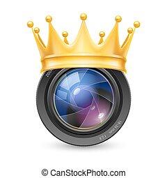 lente, coroa dourada