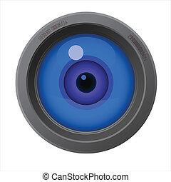 lente, dentro, câmera, olho