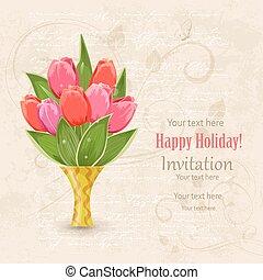 lente, des, vaas, uitnodiging, ouderwetse , bloemen, jouw, kaart
