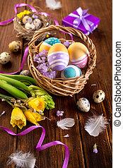 lente, eitjes, bloemen, pasen