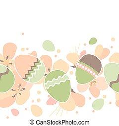 lente, eitjes, seamless, model, horizontaal, pasen