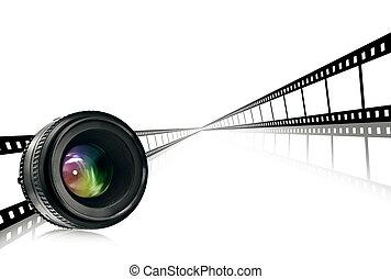 lente, &, faixa película, branco