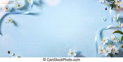 lente, floral, achtergrond, met, witte , blossom;, pasen, bloem