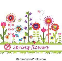 lente, flowers., grens, seamless